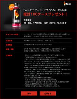 burnエナジードリンク新発売記念キャンペーン!300mlボトル缶 総計100ケースプレゼント!【100名様】